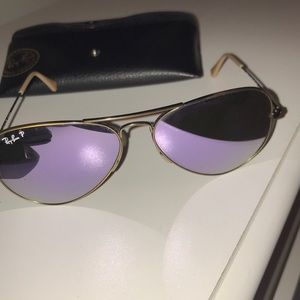 Ray Bans Purple lense with gold rim